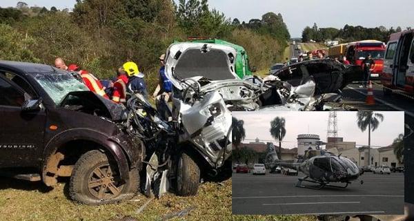 Foto acidente: Wilson Roberto Bronzatti/Rede Sul Notícias