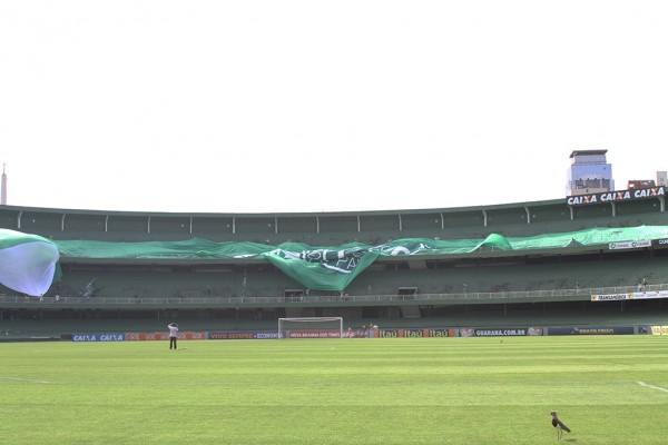 Bandeirão foi testado pelos organizadores neste sábado (Foto: Divulgação/Coritiba)