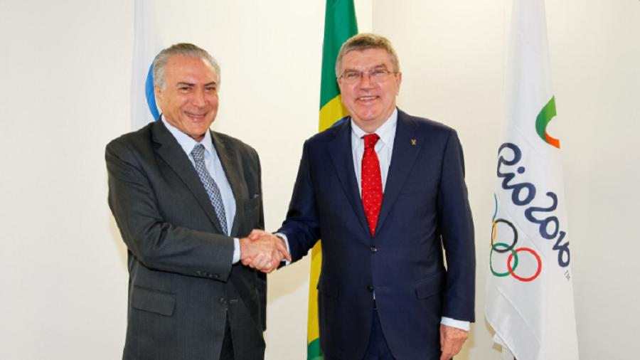 Pesidente interino Michel Temer em encontro com o presidente do COI, Thomas Bach. (Divulgação)