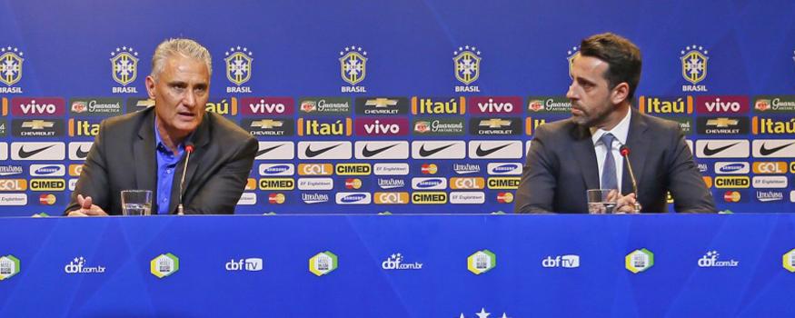 Tite e Edu Gaspar acompanharam treinamento da seleção olímpica. (Divulgação/ CBF)