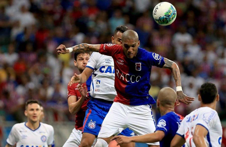 Fernando Karanga perdeu boas chances durante o primeiro tempo. (Felipe Oliveira/Bahia)