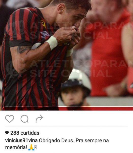Vinícius fala em tom de despedida. (Reprodução/ Instagram)