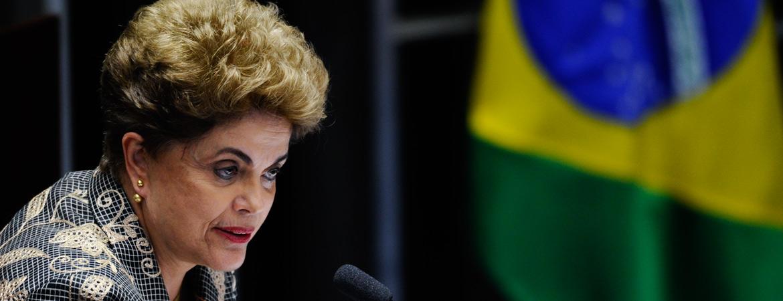 Plenário do Senado Federal durante sessão deliberativa extraordinária para votar a Denúncia 1/2016, que trata do julgamento do processo de impeachment da presidente afastada Dilma Rousseff por suposto crime de responsabilidade. Em pronunciamento,a presidente afastada, Dilma Rousseff. Foto: Marcos Oliveira/Agência Senado