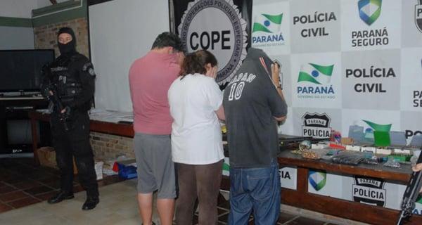 Os três detidos foram levados ao Cope (Foto: Divulgação Polícia Civil)