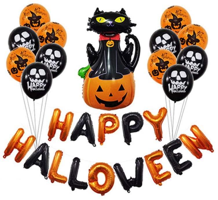 Nishore Decorações de festa de Halloween, kit de banner com balões de feliz dia das bruxas pendurado