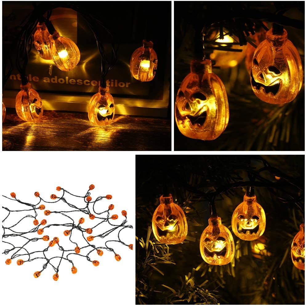 Decdeal Luzes de Cordas de Abóbora de Halloween Solar LED