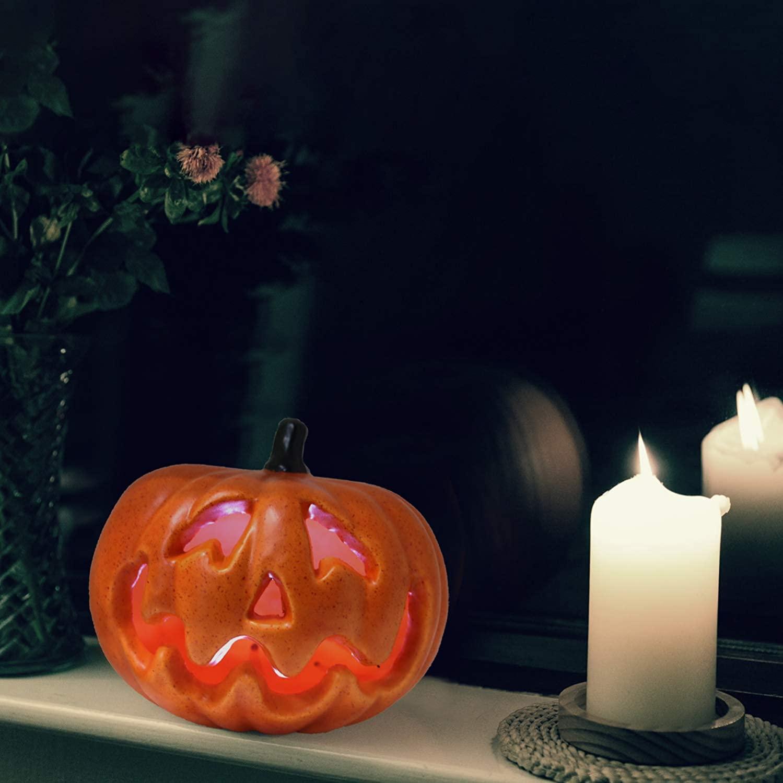 WsCrafts decoração de abóbora laranja de Halloween - lanterna de decoração