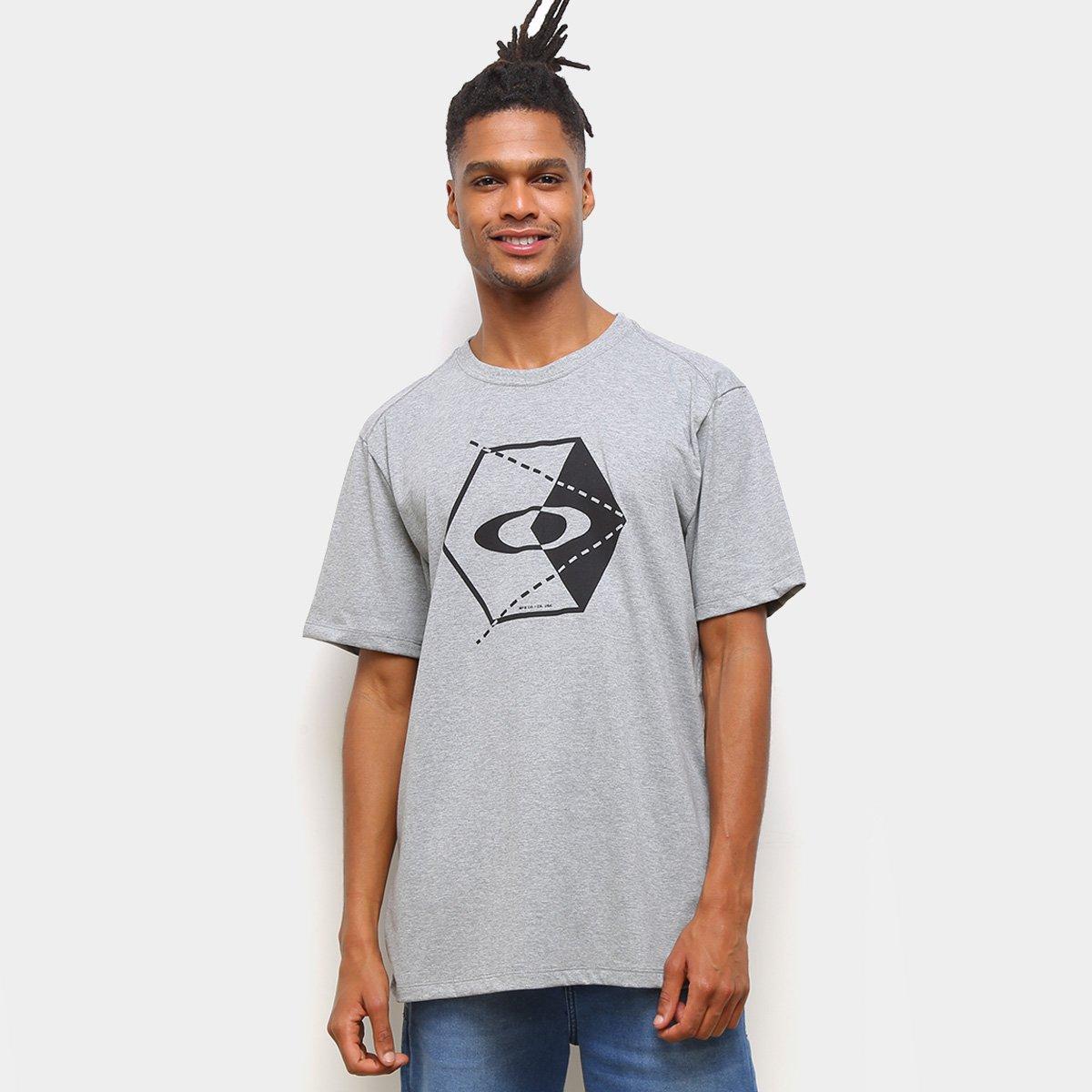 Camiseta Oakley Hex Masculina - Cinza Claro