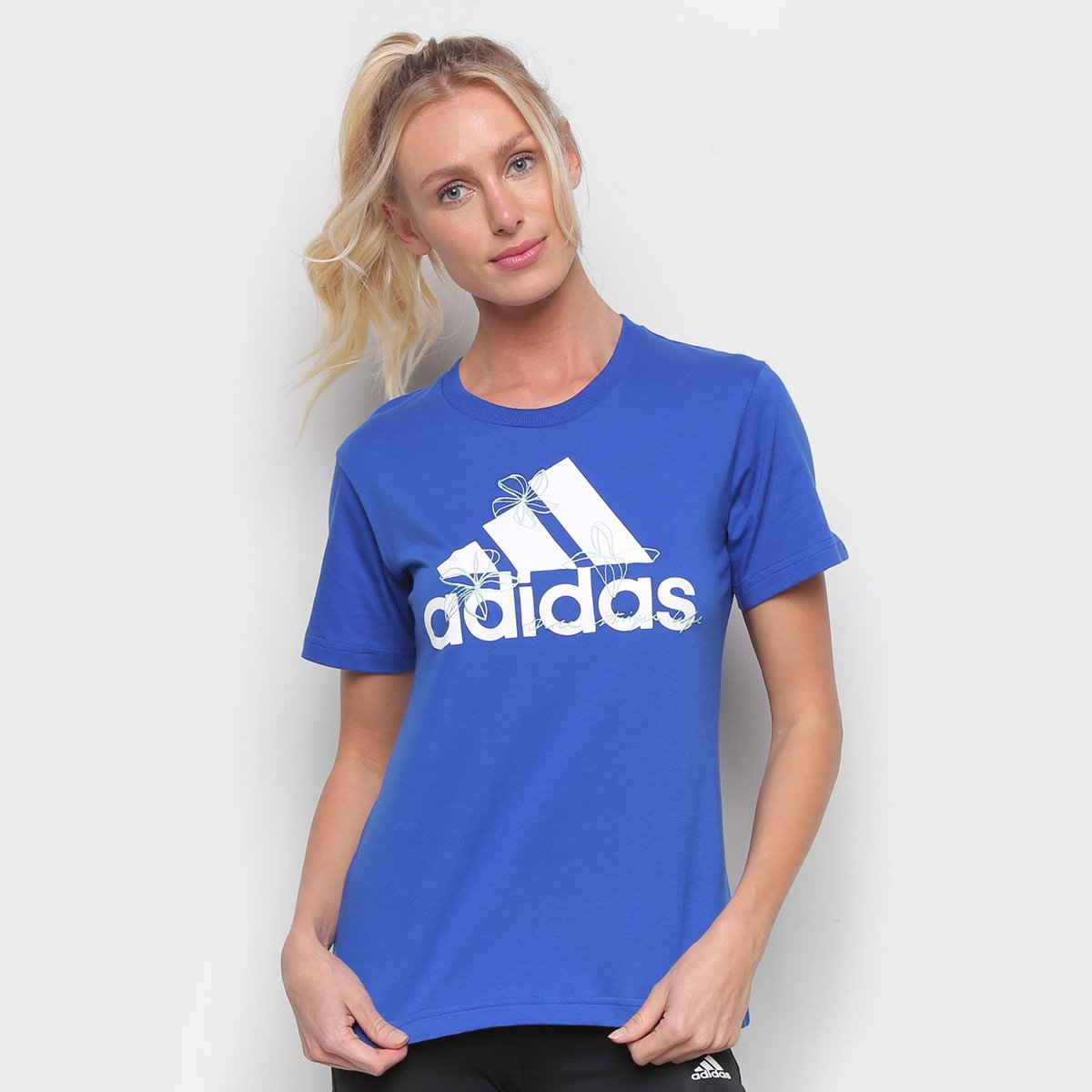 Camiseta Adidas Floral Feminina - Azul Royal