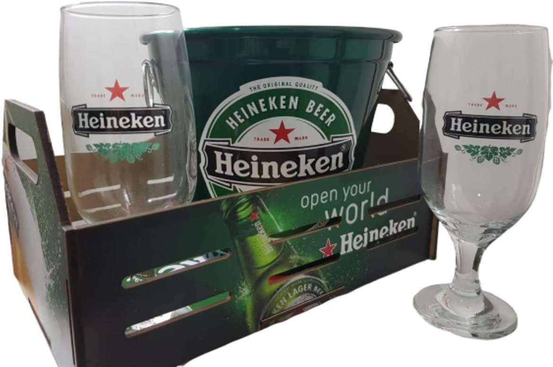 Kit Bar Cerveja 4 Peças – 2 Taças + Balde de Gelo + Bandeja - Heineken