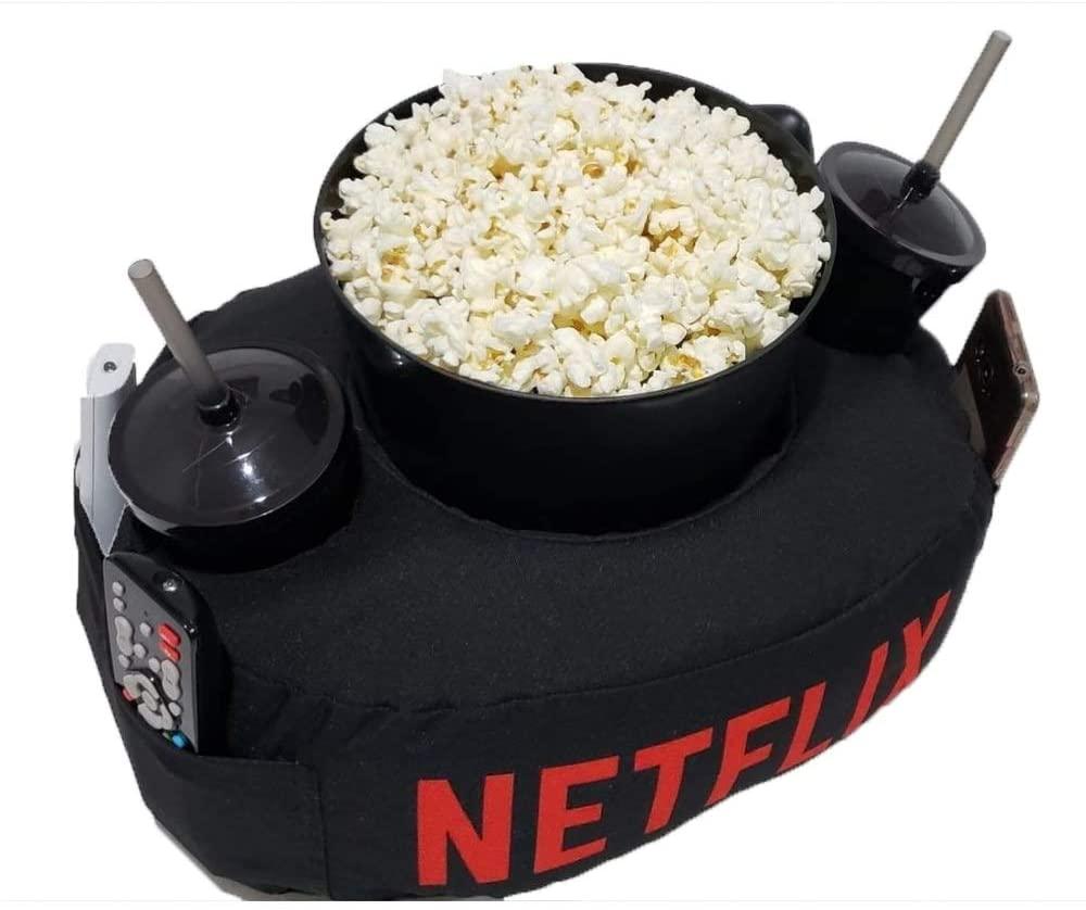 Kit Almofada C/Porta Pipoca Balde +2 Copos Netflix