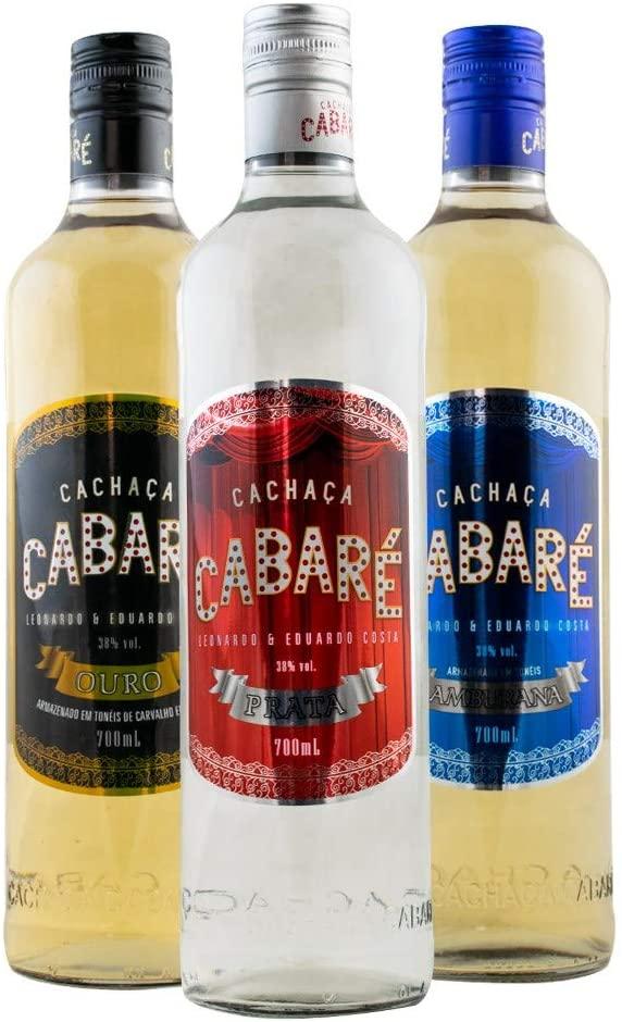 Kit Cachaças Cabaré Prata, Ouro e Amburana