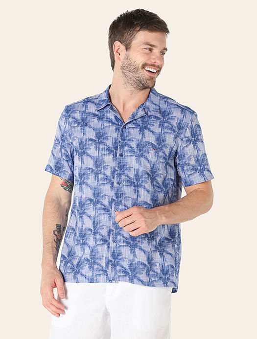 Camisa Manga Curta Estampada Slim Resort Lavanda