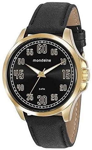Relógio Mondaine Masculino Analógico Dourado Couro Preto